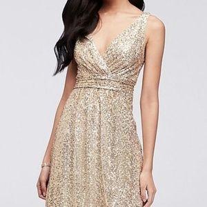 Gold Sequin Floor Length Dress